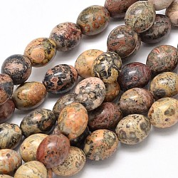 """Perles de jaspe naturelles en peau de léopard ovale, 10x8mm, trou: 1mm; environ 39 pcs/chapelet, 15.7""""(G-P106-07)"""