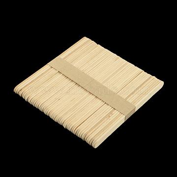 Birch Wooden Craft Ice Cream Sticks, White, 110~114x9~10x1.5~2mm, about 50pcs/bundles(X-DIY-R042-B01)