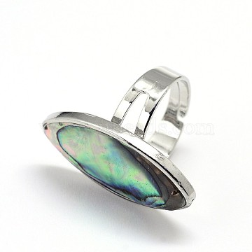 Adjustable Paua Shell Finger Rings, with Platinum Plated Brass Findings, Horse Eye, Colorful, 17mm(RJEW-J013-05)