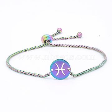 """Bracelets réglables en 201 acier inoxydable, bracelets bolo, avec des chaînes de boîte, plat rond avec constellation / signe du zodiaque, Poissons, 9-1/2"""" (24 cm)(STAS-S105-JN664-12)"""