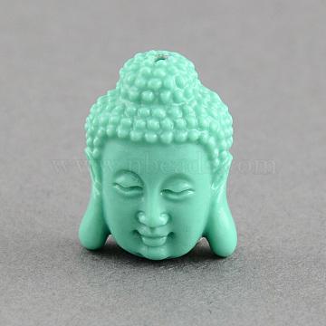 Synthetic Coral Beads, Buddha Head, Aquamarine, 28x20x11.5mm, Hole: 2mm(X-CORA-S003-28mm-02)