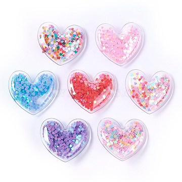 Plastic Alligator Hair Clips, with Paillette & Platinum Plated Iron Base, Heart, Mixed Color, 43x48x12~13mm(PHAR-L005-J)