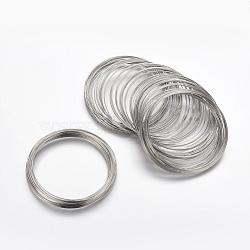 Fil à mémoire en acier, platine, 55mm; fil: 0.6 mm; environ 2200circles / 1000g(MW5.5cm)