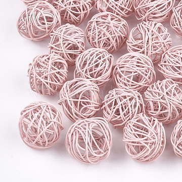 Spray Painted Environmental Iron Wire Beads, Round, Pink, 15~17mm(X-IFIN-T009-10G)