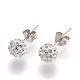 Sexy Valentines Day Gifts for Her Sterling Silver Austrian Crystal Rhinestone Ball Stud Earrings(Q286J011)-2