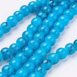 Perles en verre d'effilage, rond, bleu foncé, 6 mm; trou: 1.3~1.6 mm; environ 133 pcs / brin, 31.4