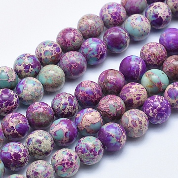 Natural Imperial Jasper Beads Strands, Dyed, Round, Blue Violet, 4mm, Hole: 1mm, about 90pcs/strand, 15.5 inches(X-G-I122-4mm-15)