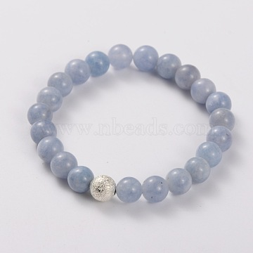 Natural Gemstone Stretch Bracelets, with Brass Textured Beads, Silver Color Plated, Aquamarine, 49mm(X-BJEW-JB01699-05)