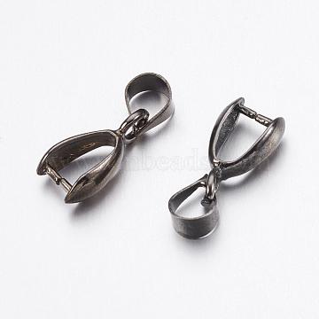 Brass Pendant Pinch Bails, Gunmetal, 12x6x3.5mm, Pin: 1mm(X-KK-K225-15-B)