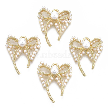 Alloy Pendants, with ABS Plastic Imitation Pearl, Bowknot, White, Light Gold, 26x21.5x9mm, Hole: 2mm(PALLOY-S132-091)