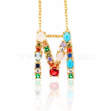 Brass Micro Pave Cubic Zirconia Initial Pendants Necklaces, with Cable Chains, Letter, Letter.M, 17.9~18.1 inches(45.5~46cm)x1.5mm; LetterM: 20x16.5x6mm(NJEW-S069-JN002-M)