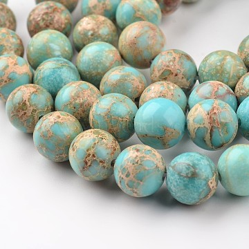 Natural Imperial Jasper Beads Strands, Round, Dyed, Light Blue, 8mm, Hole: 1mm, about 48pcs/strand, 15.7 inches(X-G-I122-8mm-12)