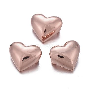 Brass Multi-Strand Links, Long-Lasting Plated, Heart, Rose Gold, 7.5x8x4.5mm, Hole: 1.8mm(KK-K244-33RG)
