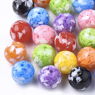 Resin Beads, Imitation Gemstone Chips Style, Round, Mixed Color, 10mm, Hole: 1.8mm(X-RESI-T026-10mm)
