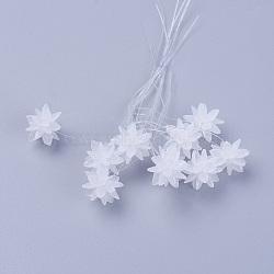 perles de verre tissées, fleur / sparkler, fait de charmes en oeil de cheval, blanc, 13 mm(EGLA-L014-21A)