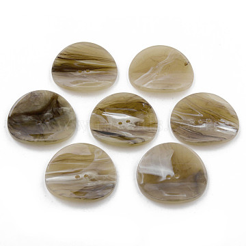 2-Hole Cellulose Acetate(Resin) Buttons, Flat Round, Dark Khaki, 31~32x32~33x7mm, Hole: 1.8mm(BUTT-S026-022)