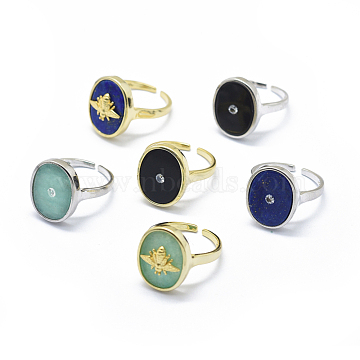 Adjustable Natural Gemstone Cuff Finger Rings, with Brass Finding/Cubic Zirconia, Mixed Color, Size 6~7, 16~17mm(RJEW-O036-01M)