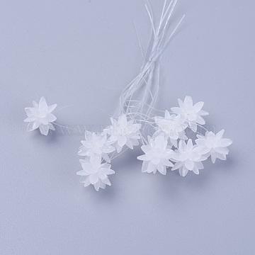 13mm White Flower Glass Beads