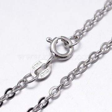 Sterling Silver Cable Chains Necklaces, with Spring Ring Clasps, Platinum, 20 inches, 1.3mm(NJEW-M157-30C-20)