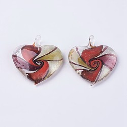 Handmade Silver Foil Lampwork Pendants, Large Hole Pendants, Heart, FireBrick, 48~49x43~44x9.5~10mm, Hole: 6.5~7.5mm(LAMP-J090-L01)
