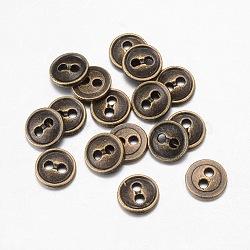 boutons en alliage, 2-trou, plat rond, bronze antique, 15x2 mm, trou: 1.5 mm(X-BUTT-D054-15mm-01)