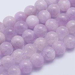 """Chapelets de perles en kunzite naturelle, rond, Grade A +, 8~8.5mm, trou: 1mm; environ 51 pcs/chapelet, 15.7"""" (40 cm)(G-L478-14-8mm)"""