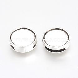 Tibétain charmes de diapositives en alliage de style cabochon paramètres, plat rond, sans plomb, argent antique, plateau: 14 mm; 16x5 mm, trou: 10x2.5 mm(X-PALLOY-Q341-04AS-LF)