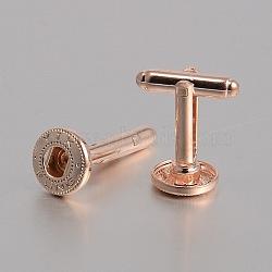 Латунь кнопку оснастки материалы, манжеты кнопку, сеттинги для кабошонов для создания одежды , розовое золото , 28x12 мм; подходят для 5 кнопок ручка мм досрочных(KK-J184-36RG)