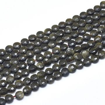 4mm Flat Round Golden Sheen Obsidian Beads