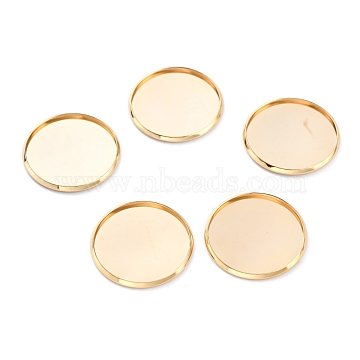304 Stainless Steel Cabochon Settings, Plain Edge Bezel Cups, Flat Round, Golden, 27x2mm Tray:25mm(STAS-Y001-12I-G)