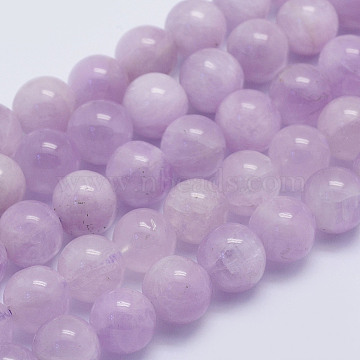Natural Kunzite Beads Strands, Spodumene Beads, Round, Grade A+, 8~8.5mm, Hole: 1mm; about 51pcs/strand, 15.7inches(40cm)(G-L478-14-8mm)