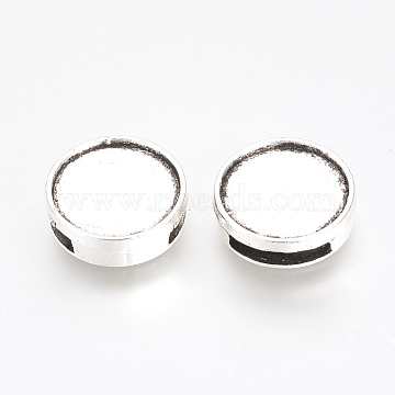 Tibetan Style Alloy Slide Charms Cabochon Settings, Flat Round, Cadmium Free & Lead Free, Antique Silver, Tray: 14mm, 16x5mm, Hole: 10x2.5mm(X-PALLOY-Q341-04AS-LF)