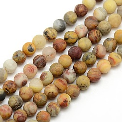 Frosted Natural Crazy Agate Round Bead Strands, Crazy Agate, 8mm, Hole: 1mm; about 47~49pcs/strand, 14.9~15.6inches