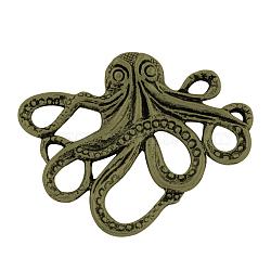 Style tibétain cabochons alliage de poulpe, Sans cadmium & sans nickel & sans plomb, bronze antique, 36x43x6mm(X-TIBEP-A15656-AB-NR)