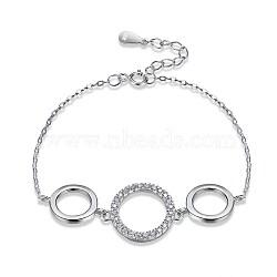 925 bracelets à maillons en argent sterling, avec zircons, anneau, effacer, platine, 5-1 / 2 (14 cm)(BJEW-BB32768)