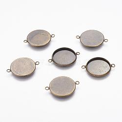 латунные пустые настройки базового разъем подходит для кабошонов, поделок заключения ювелирных изделий, чашки безель с краем, плоские круглые, античный бронзовый цвет, 25.5x20 mm, лоток: 17.5 mm, отверстия: 1.5 mm(X-KK-A055-AB)