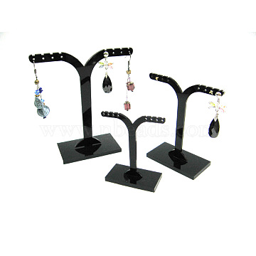 Black Pedestal Display Stand, Jewelry Display Rack, Earring Tree Stand, about 6.3~9.3cm wide, 6.3~10.5cm long. 3 Stands/Set(X-PCT039-2)
