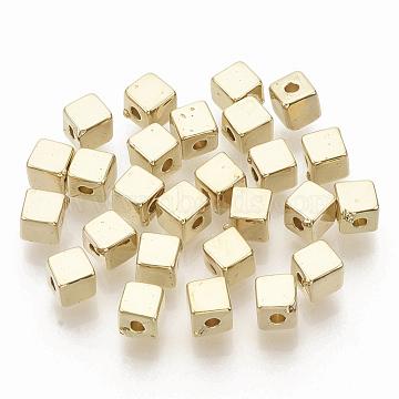CCB Plastic Beads, Cube, Golden, 4x4x4mm, Hole: 1.4mm(X-CCB-T010-48G)