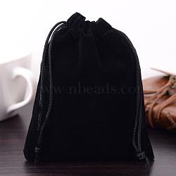 Pochettes rectangle en velours, sacs-cadeaux, noir, 15x12 cm(X-TP-R022-12x15-01)