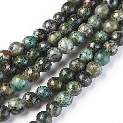 """Perles de turquoise africaine naturelle, rond, 8mm, trou: 2mm; environ 48 pcs/chapelet, 15.3""""(G-K287-12-8mm-1)"""