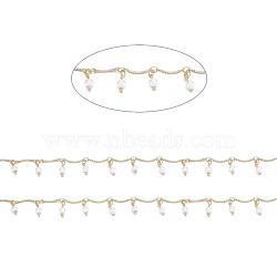 chaînes à maillons en laiton, avec verre et bobine, soudé, plaqué longue durée, or, 12.5x1.5x1 mm; 3.5x2.5x0.3 mm(CHC-I030-04G)