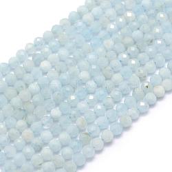 """Chapelets de perles en aigue-marine naturelle, facette, rond, 2mm, trou: 0.5mm; environ 150 pcs/chapelet, 15.35"""" (39 cm)(G-E411-19D-2mm)"""