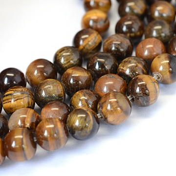 Grade AB Natural Tiger Eye Round Bead Strands, 10~10.5mm, Hole: 1.2mm; about 36pcs/strand, 15.5 inches(X-G-E334-10mm-17)