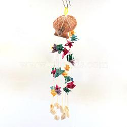 Dyed Seashell Aeolian Bells, Colorful, 15.7inches(AJEW-Q108-01)