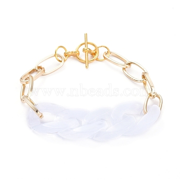 Chain Bracelets, with Acrylic Quick Link Connectors, Aluminium Paperclip Chains and Alloy Toggle Clasps, White, 7-1/4 inches(18.4cm)(BJEW-JB05127-04)