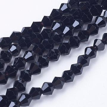 Black Glass Bicone Beads Strands, Faceted, 4x4mm, Hole: 1mm, about 92~96pcs/strand, 13.78~14.37 inches(X-GLAA-S026-10)