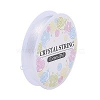 fil de cristal élastique, cordons de perles de bijoux, pour la fabrication de bracelets élastiques, blanc, 0.5 mm, sur 20 m / rouleau