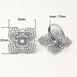 Composants filigrane pour bague, réglable, fleur, argenterie, Plateau: 22x22 mm, diamètre intérieur: 17 mm(X-KK-I019-S)