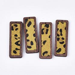 pendentifs en cuir de vachette environnementale, avec du bois teint, rectangle imprimé léopard, or, 56x19x6 mm, trou: 1.2 mm(FIND-S301-30C-05)