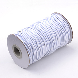 Round Elastic Cord, with Fibre Outside and Rubber Inside, White, 2mm; about 70m/roll(EC-R032-2mm-02)